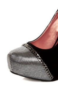 Promise Marino Black Metallic Cap-Toe Platform Pumps at Lulus.com!