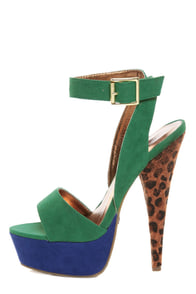 Promise Carlton Green Color Block Leopard Print Platform Heels