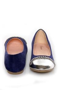 Promise Emporium Blue & Silver Cap-Toe Ballet Flats at Lulus.com!