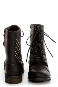 Promise Faith Black Studded Lace-Up Combat Boots at Lulus.com!