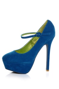 Promise Goodness Blue Mary Jane Power Platform Pumps