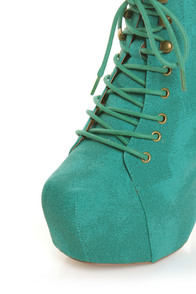 Promise Magi Green Teal Denim Lace-Up Platform Ankle Boots at Lulus.com!