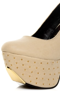 Promise Monsta Nude Studded Party Platform Pumps at Lulus.com!