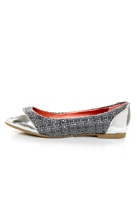 Promise Montreal Grey Sparkle Tweed Cap-Toe Flats