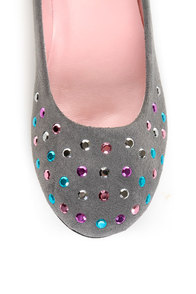 Promise Neon Grey Rhinestone Studded Ballet Flats at Lulus.com!