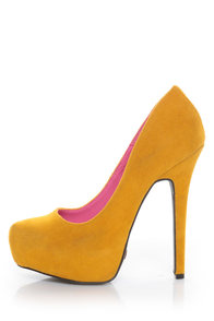 Promise Real Mustard Yellow Suede Platform Pumps