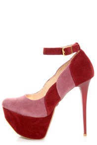Promise Trustie Wine Red and Pink Color Block Platform Heels at Lulus.com!
