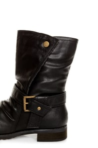 Promise Wichita Black Belted Motorcycle Boots at Lulus.com!