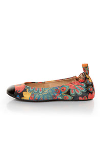 Penny Loves Kenny Nelly Black Multi Sparkle Print Cap Toe Flats
