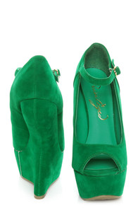Privileged Dexter Green Peep Toe Heelless Platforms at Lulus.com!