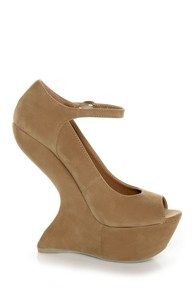 Privileged Dexter Tan Peep Toe Heelless Platforms at Lulus.com!