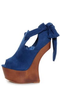 Privileged Ferra Royal Blue Tie-Back Shootie Heelless Platforms at Lulus.com!