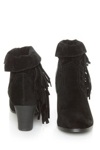 Privileged Jax Black Fold-over Fringe Ankle Boots at Lulus.com!