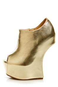 Privileged Keaton Gold Metallic Shootie Heelless Platforms at Lulus.com!