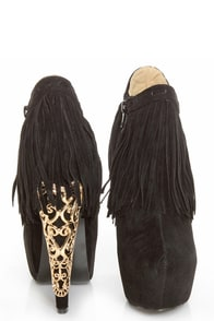 Privileged Lolla Black Fringe and Filigree Platform Booties at Lulus.com!