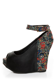 Privileged Mistique Black and Floral Peep Toe Wedges