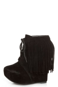 Privileged Nissa Black Lace-Up Fringe Wedge Booties