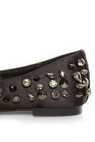 Privileged Sage Black Satin Studded Smoking Slipper Flats