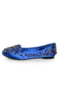 Privileged Sage Royal Blue Satin Studded Smoking Slipper Flats at Lulus.com!