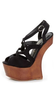 Privileged Sherman Black Strappy Heelless Platforms