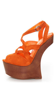 Privileged Sherman Orange Strappy Heelless Platforms at Lulus.com!