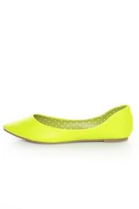 Privileged Vienna Neon Yellow Pointed Toe Flats