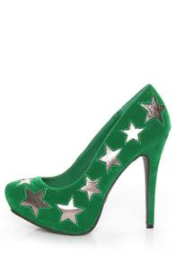 Anne Michelle Viral 68 Green Star Cutout Platform Pumps