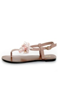 Qupid Athena 431 Blush Bow'd T Strap Thong Sandals