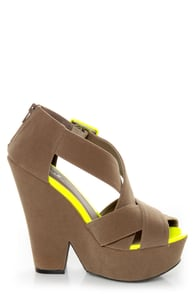 Qupid Burke 52 Taupe Velvet and Neon Yellow Platform Wedges at Lulus.com!