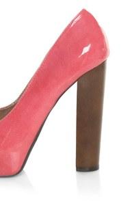 Qupid 36 Enclose 12 Coral Two Tone Patent Peep Toe Heels