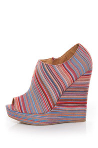 Qupid Enrich 124 Coral Multi Stripe Peep Toe Wedge Booties