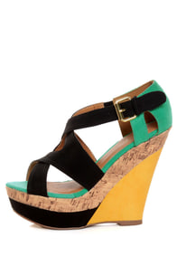 Qupid Finder 52 Black Color Block Platform Wedges