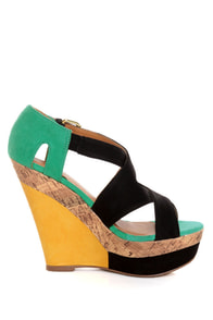 Qupid Finder 52 Black Color Block Platform Wedges at Lulus.com!