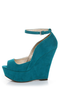Qupid Finder 69 Teal Velvet Sculpted Peep Toe Platform Wedges at Lulus.com!