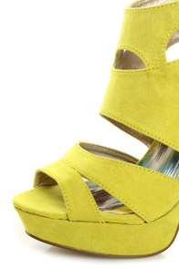 Qupid Gaze 239 Yellow Suede Strappy Bootie Pumps at Lulus.com!