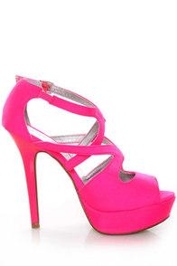 Qupid Glitter 113 Neon Pink Lycra Strappy Platform Pumps