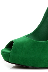 Qupid Heigl 01 Green Velvet Peep Toe Pumps
