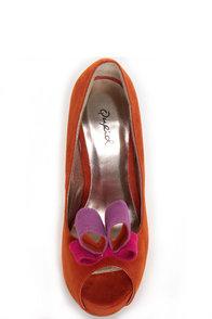 Qupid Heigl 18 Orange Velvet Bow-na fide Peep Toe Pumps