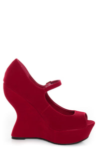 Qupid Jillian 02 Red Velvet Peep Toe Heelless Platforms at Lulus.com!