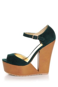 Qupid Luke 02 Green Velvet Architectural Cutout Platform Wedges