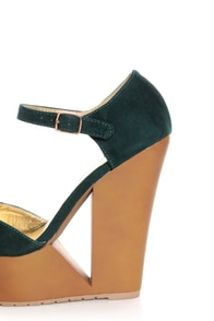 Qupid Luke 02 Green Velvet Architectural Cutout Platform Wedges at Lulus.com!