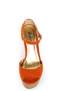 Qupid Luke 02 Orange Velvet Architectural Cutout Platform Wedges at Lulus.com!