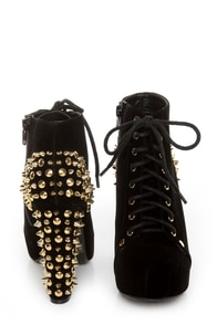 Qupid Luxe Velocity Black Velvet Studded Lace-Up Booties