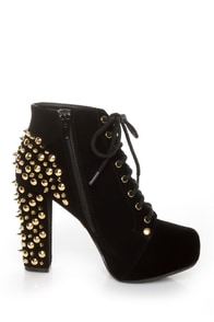 Qupid Luxe Velocity Black Velvet Studded Lace-Up Booties at Lulus.com!