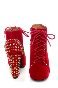 Qupid Luxe Velocity Red Velvet Studded Lace-Up Booties at Lulus.com!