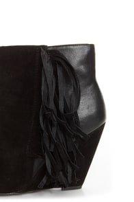 Qupid Maddox 07 Black Fringe Pointed Ankle Boots at Lulus.com!