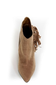 Qupid Maddox 07 Taupe Fringe Pointed Ankle Boots at Lulus.com!