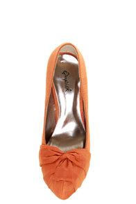 Qupid Marquise 10 Orange Thai Silk Knotty Bow Platform Pumps at Lulus.com!