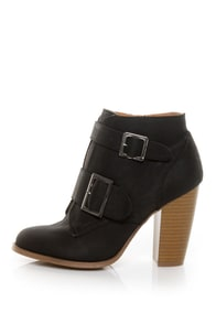 Qupid Miley 21 Black Nubuck Buckled Ankle Boots