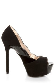 Qupid Miriam 61 Black Texture Time Scalloped Peep Toe Pumps at Lulus.com!